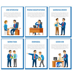Interview and phone negotiations business call vector