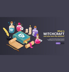 Isometric magical horizontal banner vector