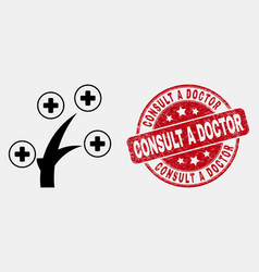 Line medical tree icon and distress consult vector