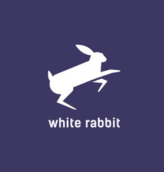 logotype with silhouette jumping rabbit bunny vector image