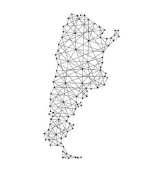 map of argentina from polygonal black lines vector image