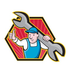 Mechanic With Spanner Thumbs Up vector