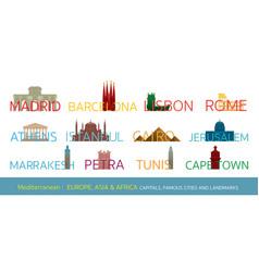 Mediterranean europe africa asia cities vector