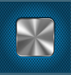 metal square button on blue perforated background vector image