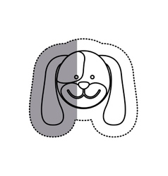 Monochrome contour sticker with dog head and vector