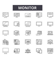 Montior line icons for web and mobile design vector