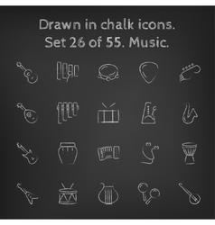 Music icon set drawn in chalk vector