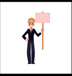 office worker with blank pink placard vector image