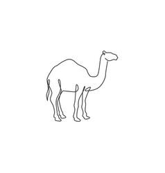 One single line drawing strong desert arab vector