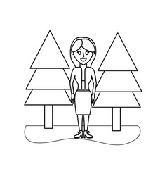 Outline elegant woman with clothes and pine trees vector