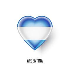 Patriotic heart symbol with argentina flag vector