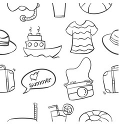 Pattern of summer object collection vector