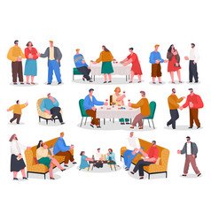 people eat and play on banquet home reception vector image