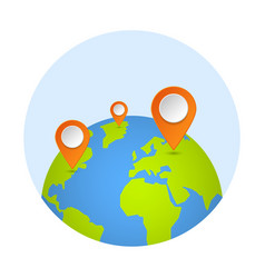 planet and map pins icon earth and map label vector image