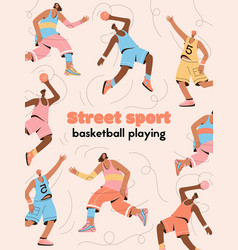 poster street sport and basketball vector image