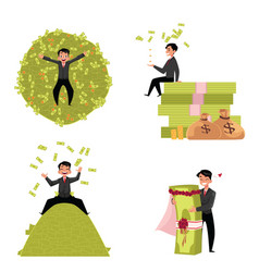 reach businessman marrying to money lying vector image