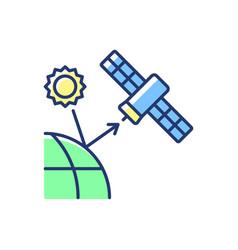 Remote sensing satellite blue green rgb color icon vector