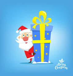 santa claus with big gift of new year in box vector image