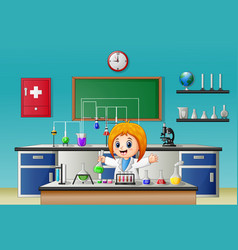 Scientist girl in laboratory research with chemica vector