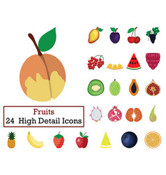 set of 24 fruit icons vector image
