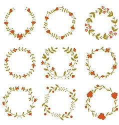 Set of beautiful floral wreaths vector image