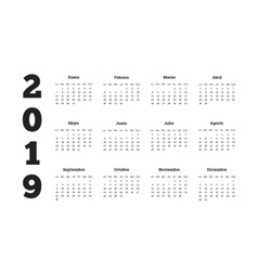 Simple calendar on 2019 year in spanish language vector