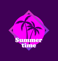 Summer time 80s retro sci-fi palm trees on a vector