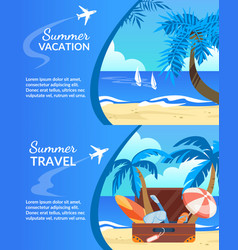 summer vacation travel horizontal banner set vector image