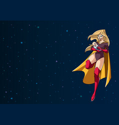 Super mom with baby in space vector