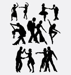 Tango salsa couple dancer silhouette vector image