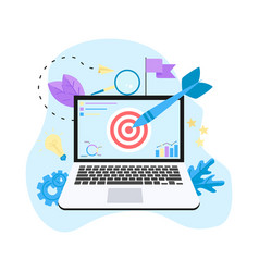 target with an arrow on laptop vector image