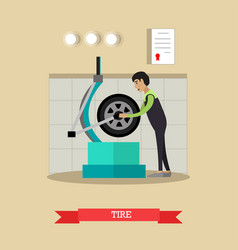 tire service in flat style vector image