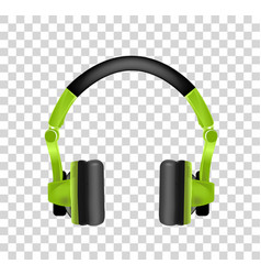 Trendy youth wireless green headphones realistic vector