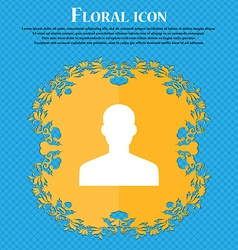 User Person Log in Floral flat design on a blue vector