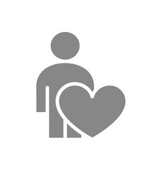 user profile with heart gray icon charity vector image