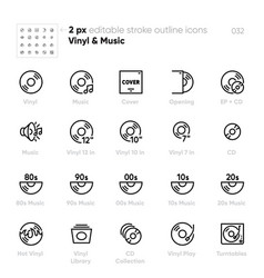 Vinyl music ep cd outline icons turntable vector