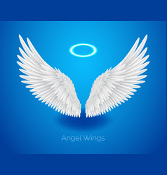 White angel wings and shining nimbus realistic vector