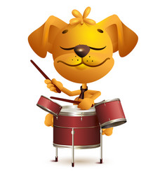 Yellow fun dog drummer beats drums vector