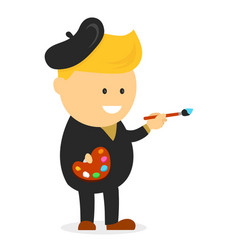 artist painter cartoon flat design vector image vector image