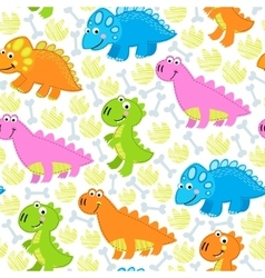 Dinosaur multicolored seamless pattern vector image vector image