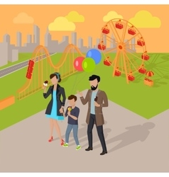 Family Holiday in the Amusement Park Concept vector image vector image