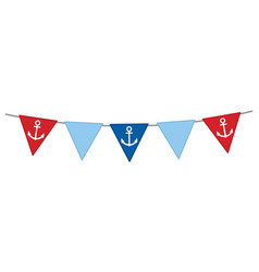 nautical bunting with anchor vector image