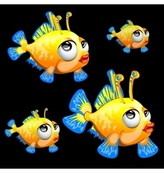 Sad yellow fish with antenna and blue fins toon vector image vector image