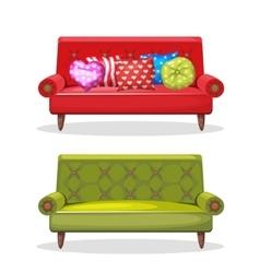 Sofa soft colorful homemade set 8 vector