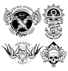 Tattoo Studio Monochrome Emblems Set vector image vector image