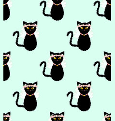 black cat bride wedding on green mint background vector image vector image