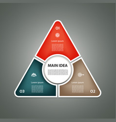 cyclic diagram with three steps and icons vector image vector image