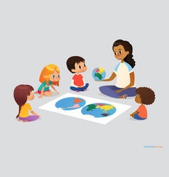 happy school kids and teacher sit in circle around vector image vector image