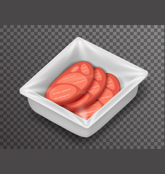 meat isometric disposable food pack isolated 3d vector image vector image
