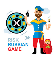 russian roulette concept flat style vector image